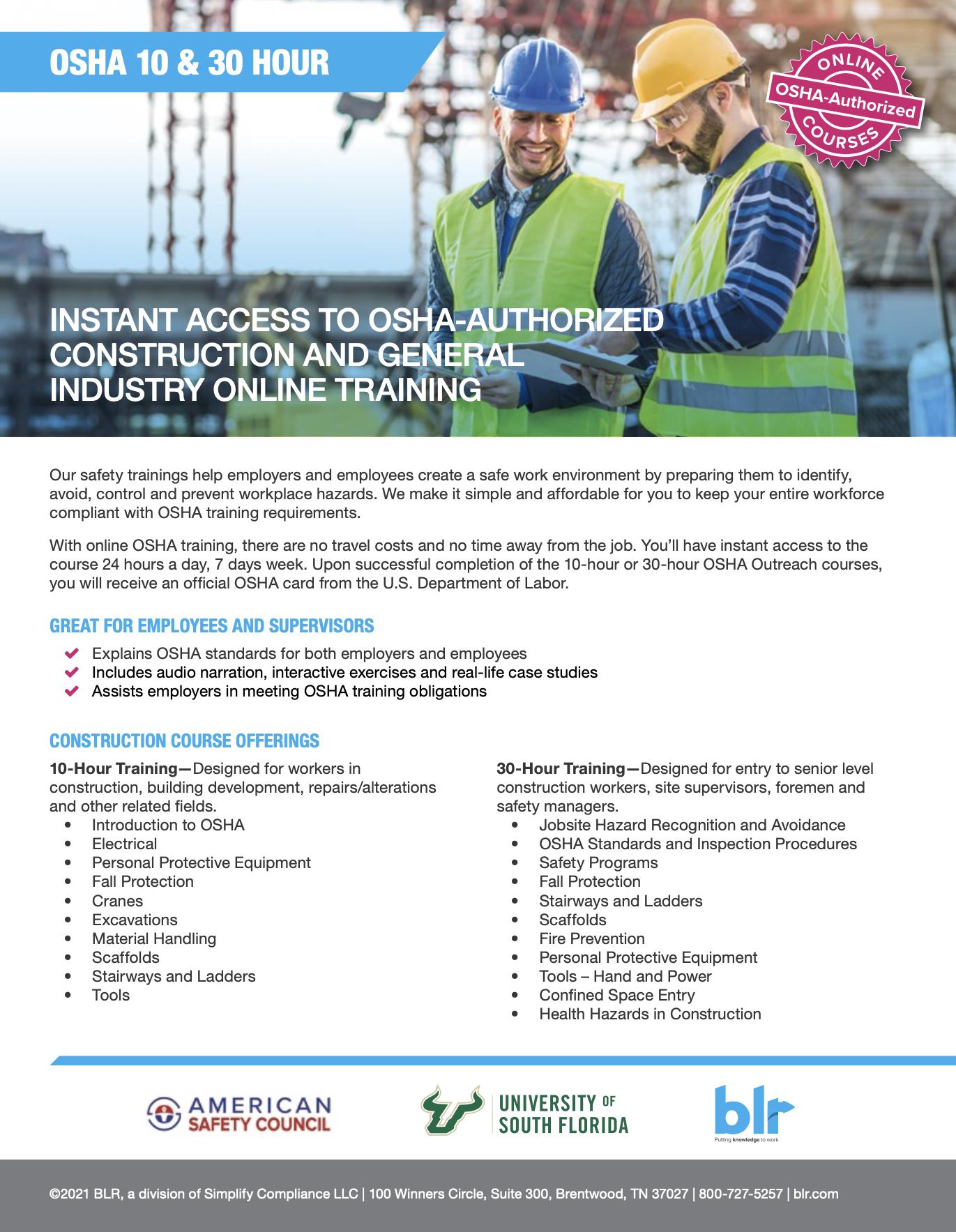 OSHA Authorized Training Flyer